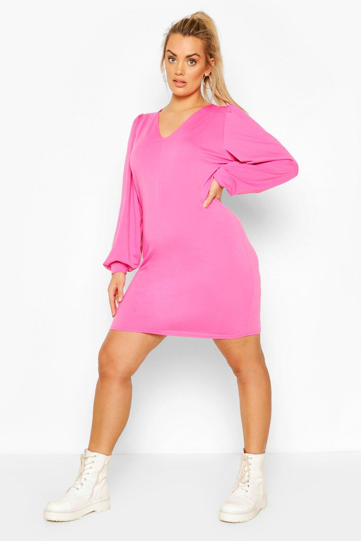Plus High Neck Puff Sleeve Sweat Dress 7