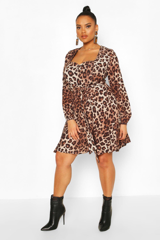 Plus Leopard Long Sleeve Belted Skater Dress 2