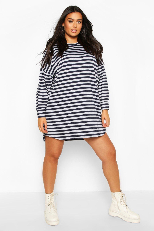 Plus Stripe Balloon Sleeve Sweat Dress 7
