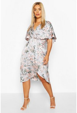 Silver grey grey Plus Satin Floral Wrap Midi Dress