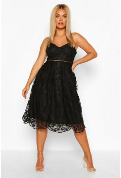 Black Plus Crochet Lace Midi Skater Dress