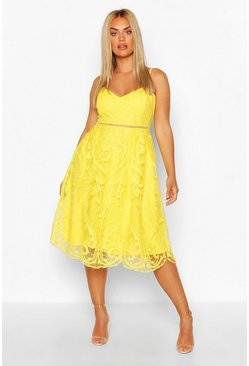 Yellow Plus Crochet Lace Midi Skater Dress