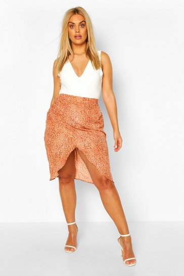 Rust orange Plus Smudge Spot Satin Wrap Midi Skirt