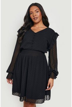 Black Plus Dobby Mesh Shirred Waist Skater Dress