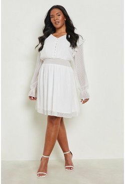 Ivory white Plus Dobby Mesh Shirred Waist Skater Dress