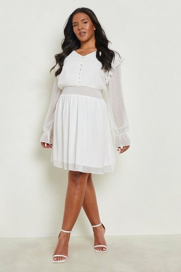 Ivory Plus Dobby Mesh Shirred Waist Skater Dress