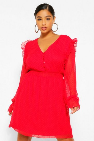 Red Plus Dobby Mesh Shirred Waist Skater Dress