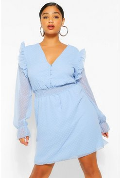 Sky blue Plus Dobby Mesh Shirred Waist Skater Dress