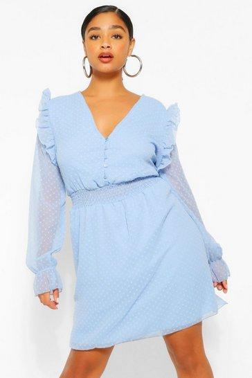 Sky blue Plus Dobby Mesh Shirred Waist Skater Dress