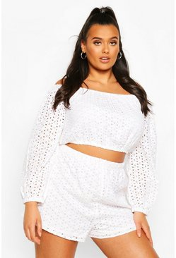 White Plus Broderie Anglaise High Waisted Short