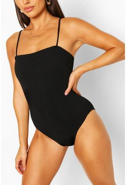 Black Petite Crinkle Square Neck Swimsuit