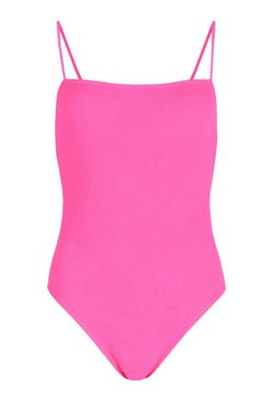 Neon-pink Petite Crinkle Square Neck Swimsuit