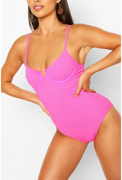 Neon-pink pink Petite Cut Out Tie Crinkle Detail Swimsuit