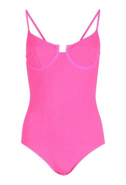 Neon-pink Petite Cut Out Tie Crinkle Detail Swimsuit