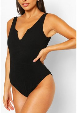 Black Petite Crinkle Scoop Neck Swimsuit