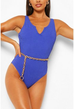Blue Petite Crinkle Scoop Neck Swimsuit