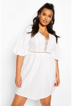 White Plus Embroidered Broiderie Skater Dress