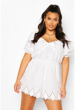 White Plus Broderie Puff Sleeve Romper
