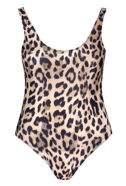 Brown Petite Leopard Print Scoop Back Swimsuit
