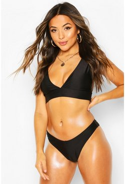 Black Petite Mix & Match Plunge Bikini Top