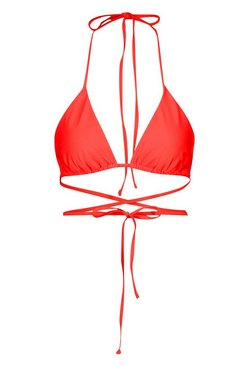 Red Petite Mix & Match Triangle Bikini Top