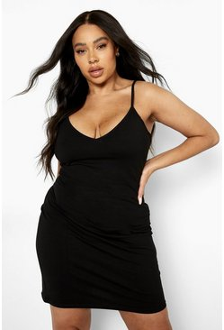 Black Plus Strappy Basic Bodycon Dress