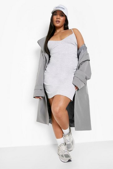 Grey marl grey Plus Strappy Basic Bodycon Dress