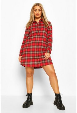 Red Plus Oversized Check Shirt Dress
