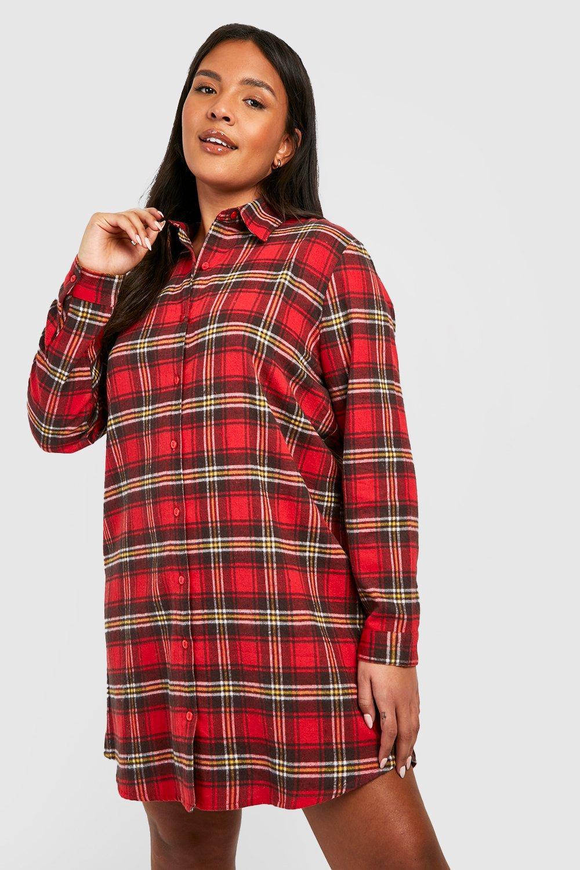Plus Oversized Check Shirt Dress 6