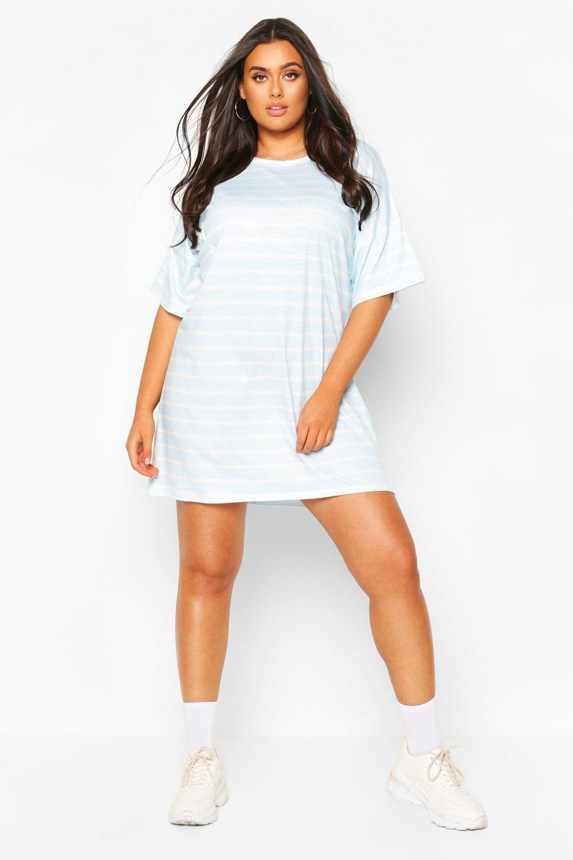 Plus Striped Oversized T-Shirt Dress 9