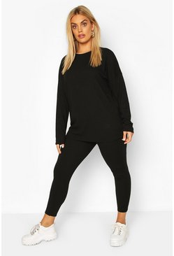 Black Plus Oversized Rib Top And Legging Two-Piece