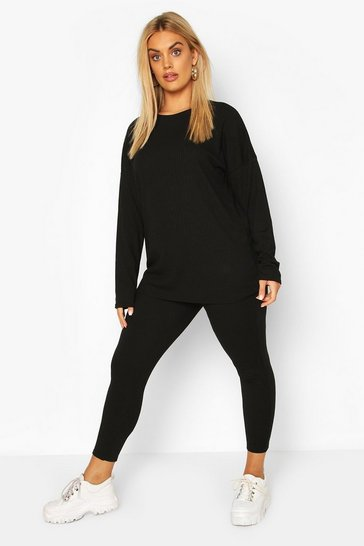 Black Plus Oversized Rib Top and Legging Co-Ord