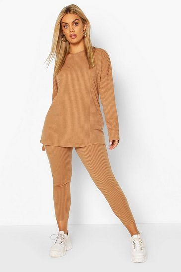 Camel beige Plus Oversized Rib Top and Legging Co-Ord