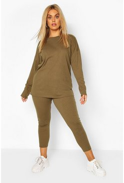 Khaki Plus Oversized Rib Top & Legging Two-Piece