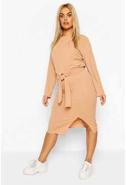 Camel beige Plus Soft Rib Top & Midi Skirt Co-ord