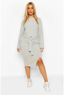 Grey Plus Soft Rib Top & Midi Skirt Two-Piece