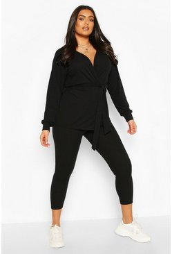 Black Plus Geribbelde Lounge Set Met Cardigan En Leggings