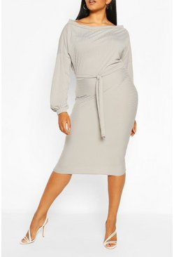 Grey Plus Soft Rib Slash Neck Midi Dress