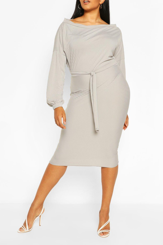 Plus Soft Rib Slash Neck Midi Dress 8