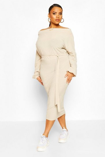 Stone beige Plus Soft Rib Slash Neck Midi Dress
