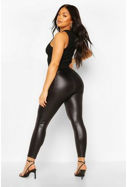 Black Plus PU Ruched Bum Legging