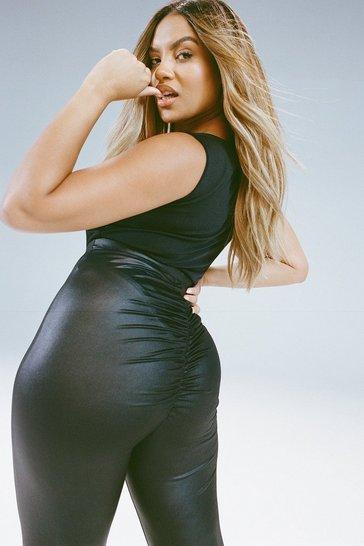 Black Plus Pu Ruched Bum Leggings