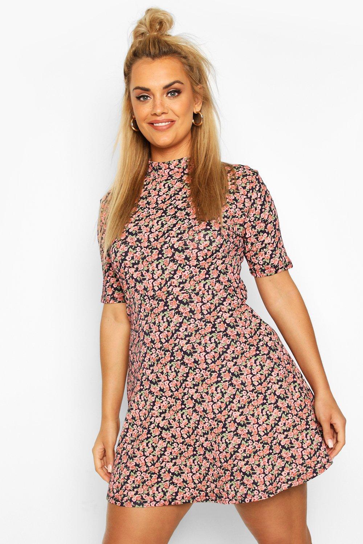 Plus Floral High Neck Shift Dress 2