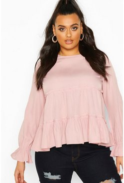 Blush pink Plus Woven Ruffle Long Sleeve Smock Top