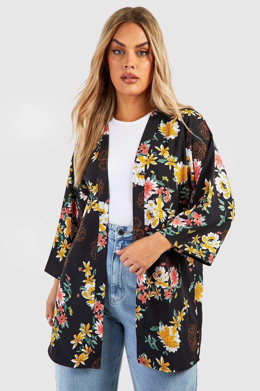 TOPS Plus Large Floral Kimono