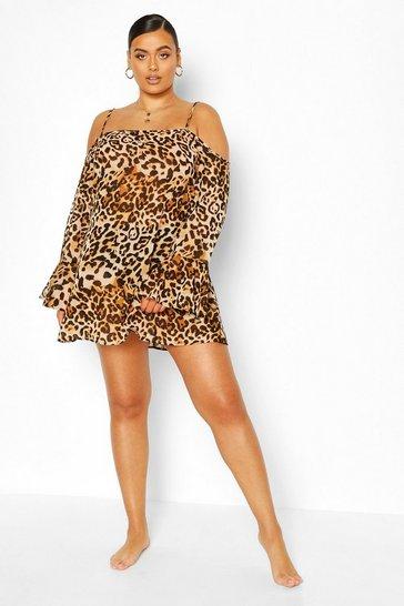 Brown Plus Beach Leopard Swing Dress