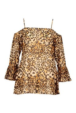 Brown Plus Beach Leopard Swing Dress