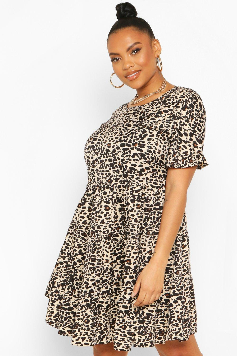 Plus Leopard Print Ruffle Smock Dress 13