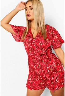 Red Plus Woven Ditsy Floral Playsuit