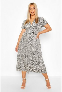 White Plus Dalmatian Ruffle Midaxi Dress